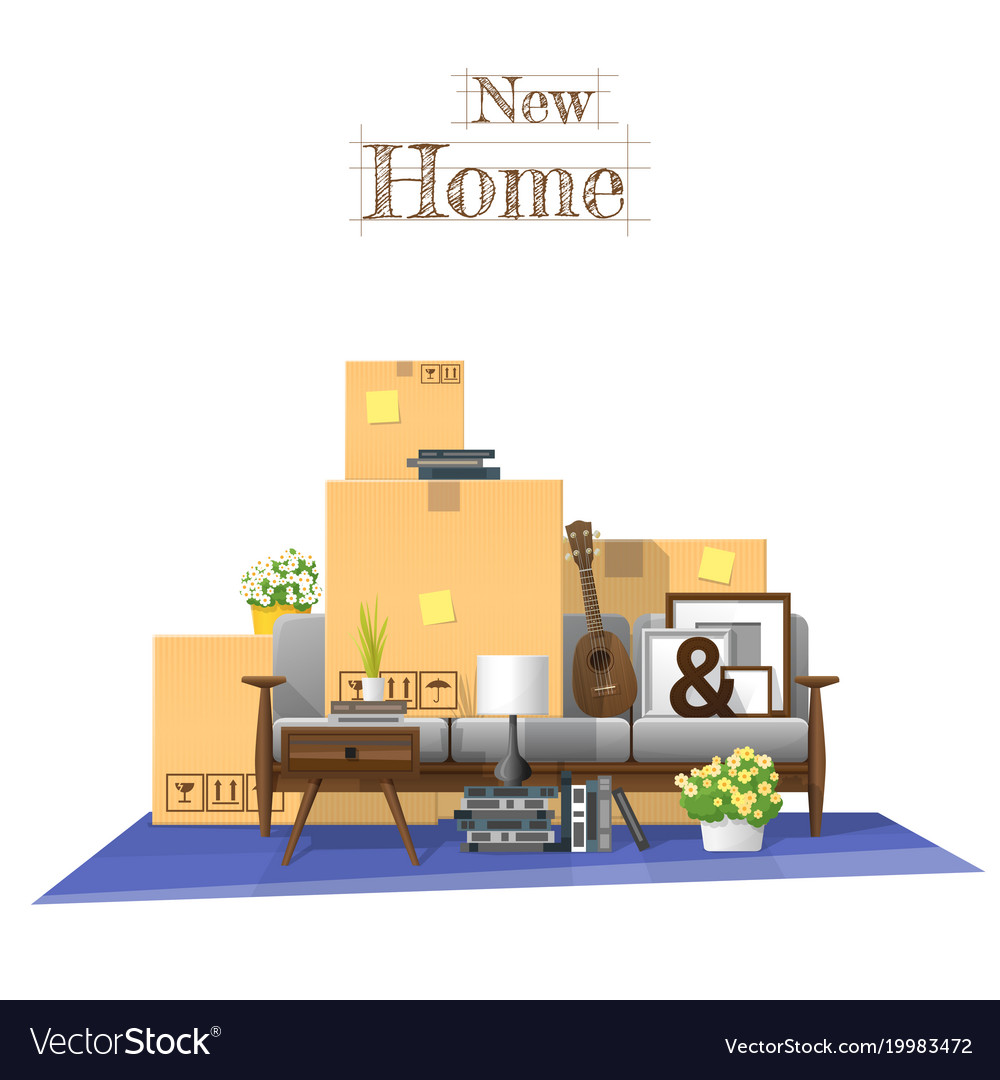 Awesome Moving Home Concept Background Vector Image