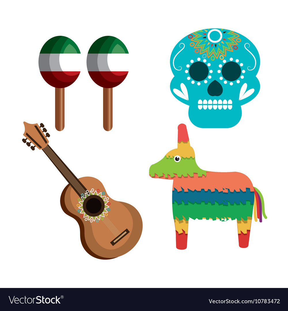 Set icons culture festive mexican design