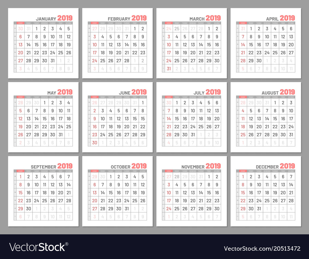 2020 Flourish Mini Calendar: Set Identical Light Mini Calendars 2019 Months Vector Image