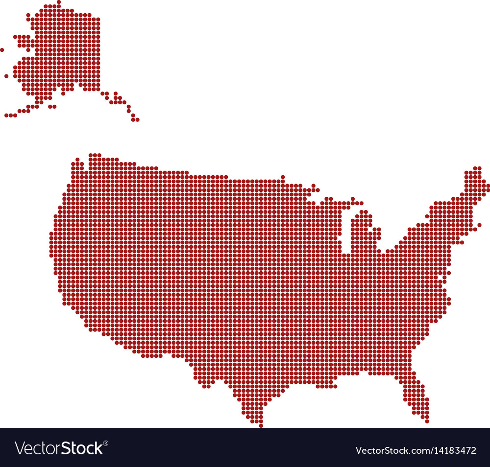 Usa dotted red map abstract united states map