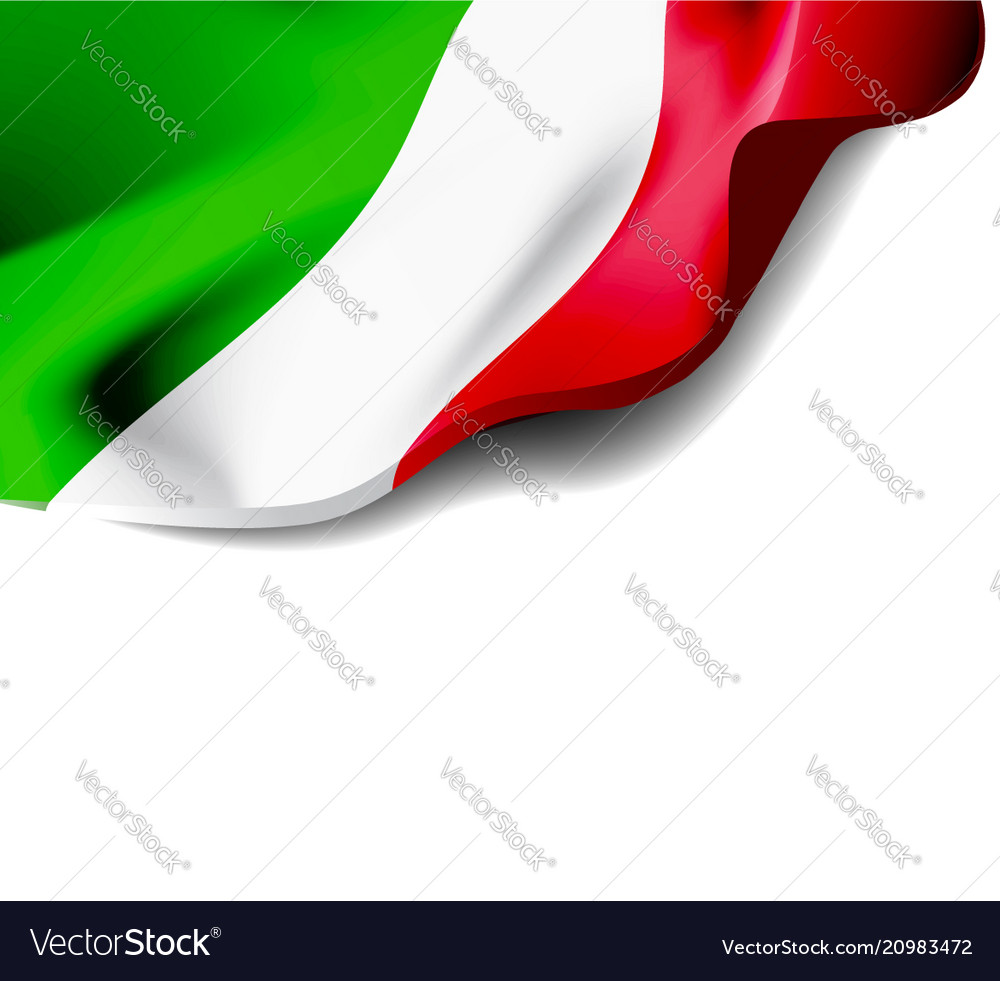 Waving flag of italy close-up with shadow on white