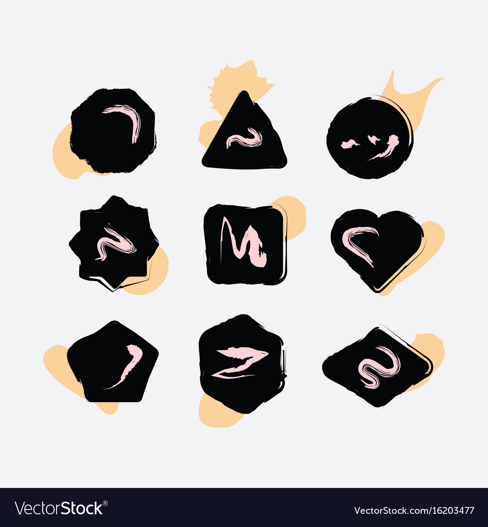 Abstract black inky hand drawn shapes icons set vector image