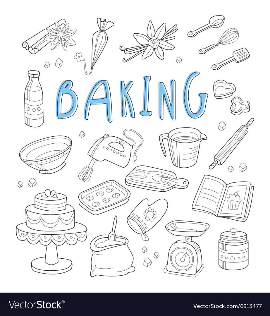 Bakery and dessert doodles Hand drawn