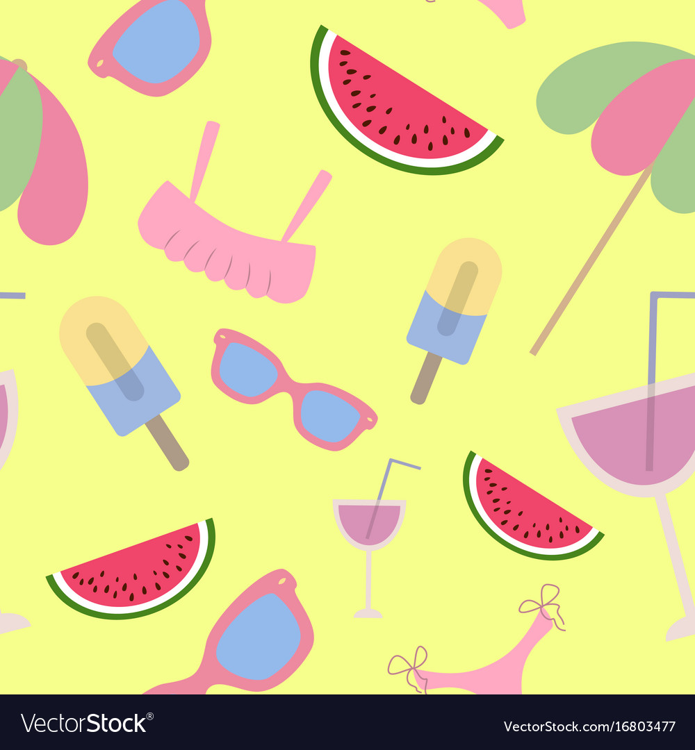 Beach seamless pattern summer accessories on