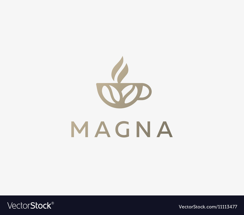 Coffee cup with beans logo design template vector image