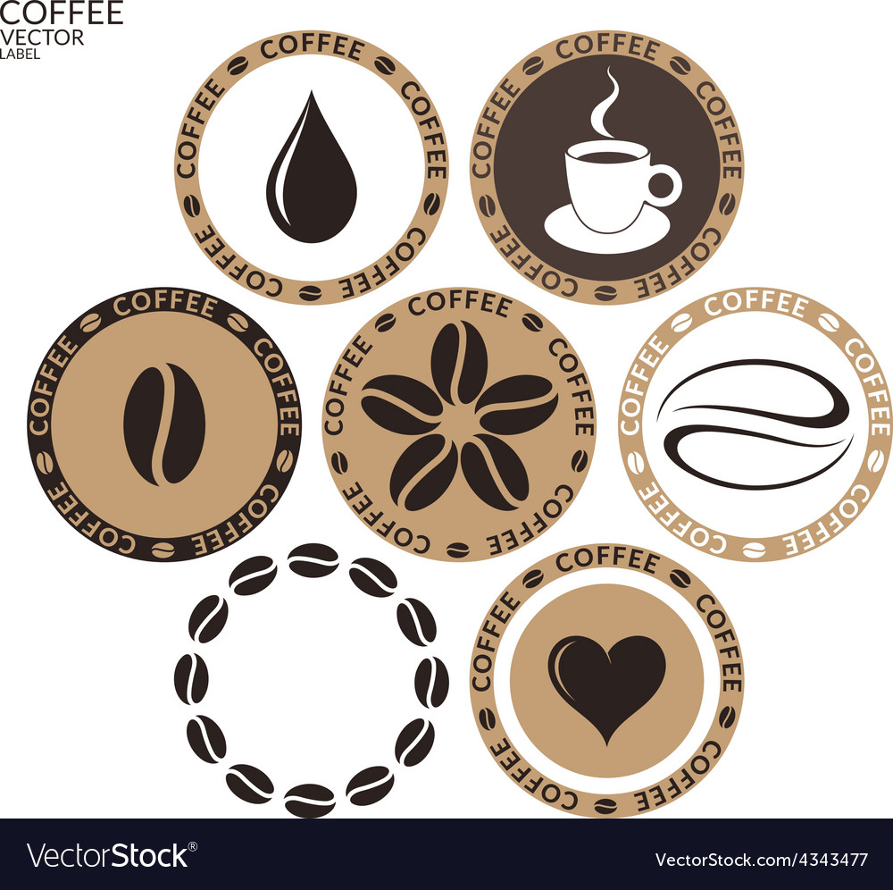Coffee Isolated label on white background