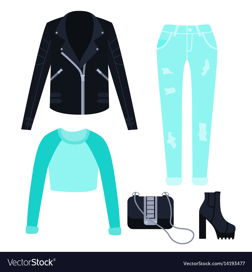 1dba5a0fdbbf Fashionable spring clothes for women Royalty Free Vector