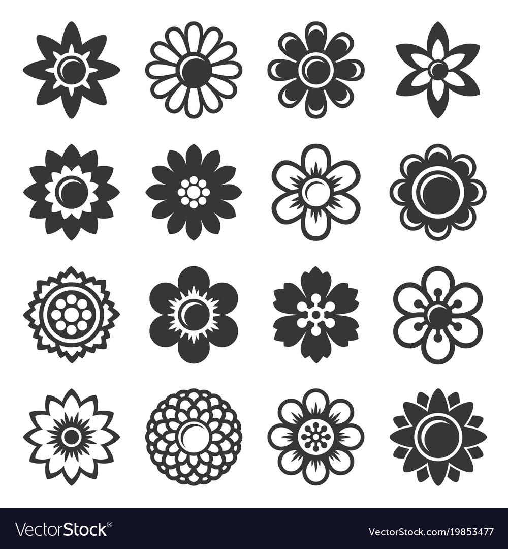 Flower icons set on white background