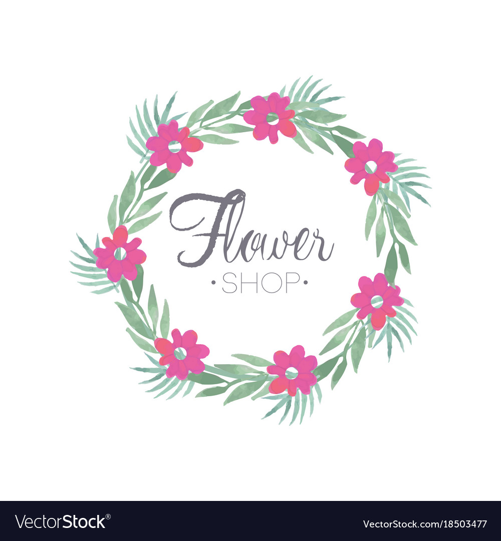 flower shop colorful logo template with wreath vector image
