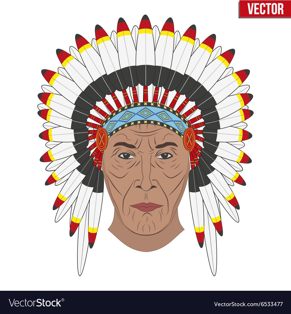 Indian chief in a feathered hat Front view