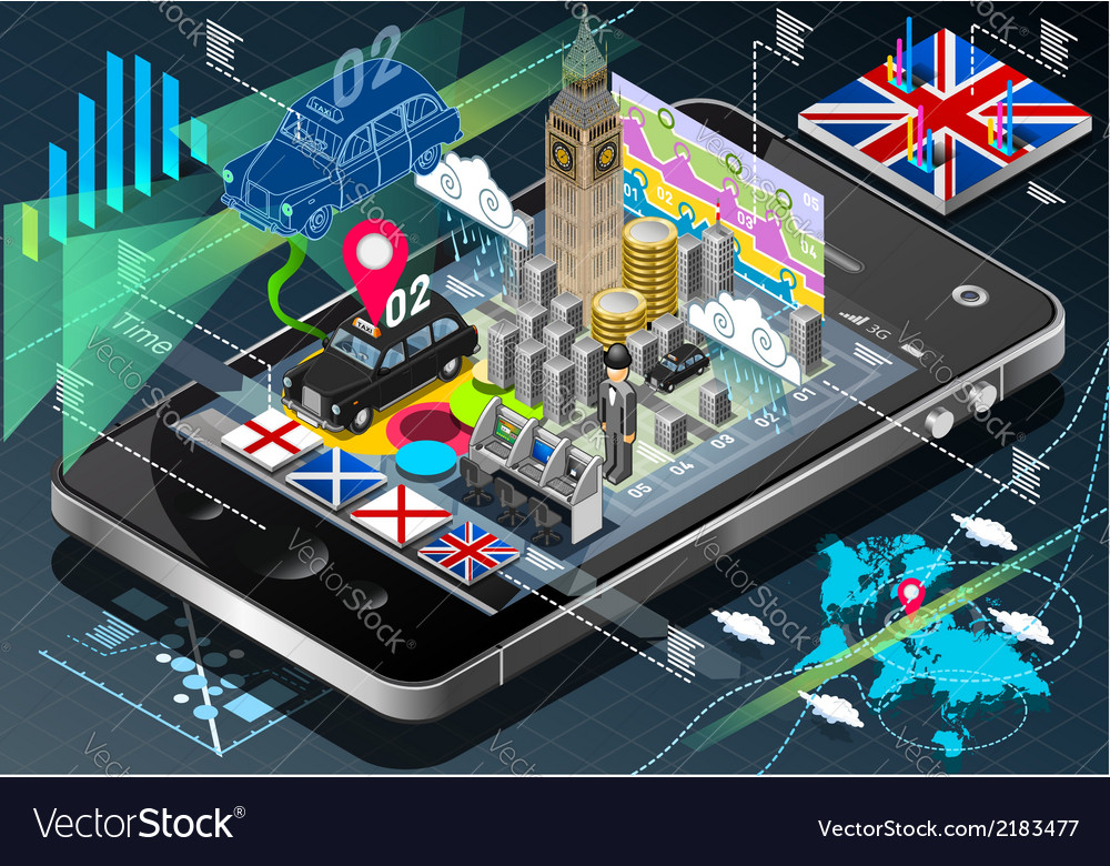 Isometric Infographic of Great Britain on Mobile vector image