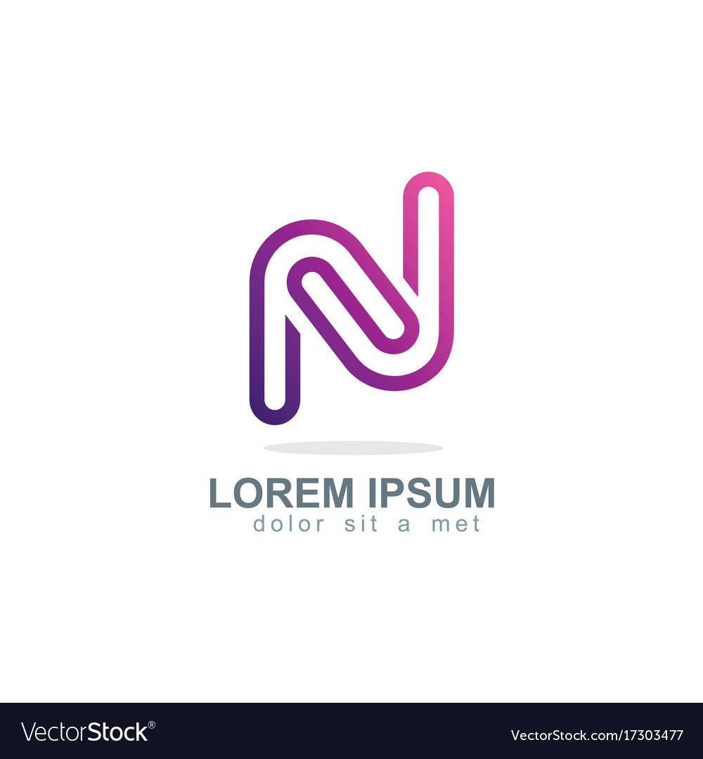 Letter n purple line logo