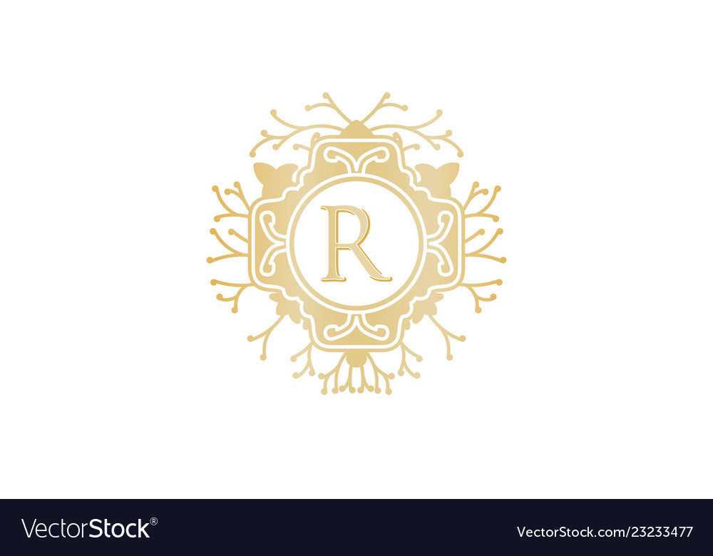 Letter R Initial Logo For Wedding Boutique Luxury Vector Image