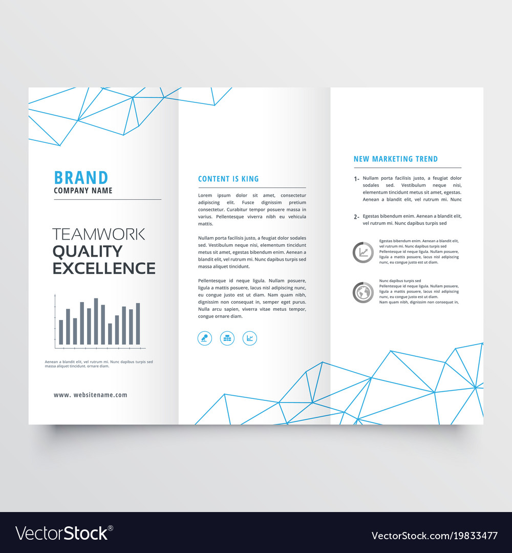 minimal tri fold brochure design template for vector image