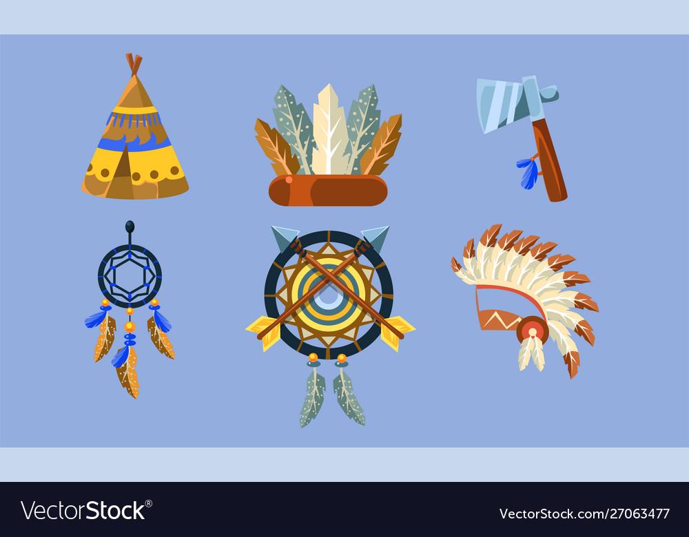 Native american indian symbols set ethnic design