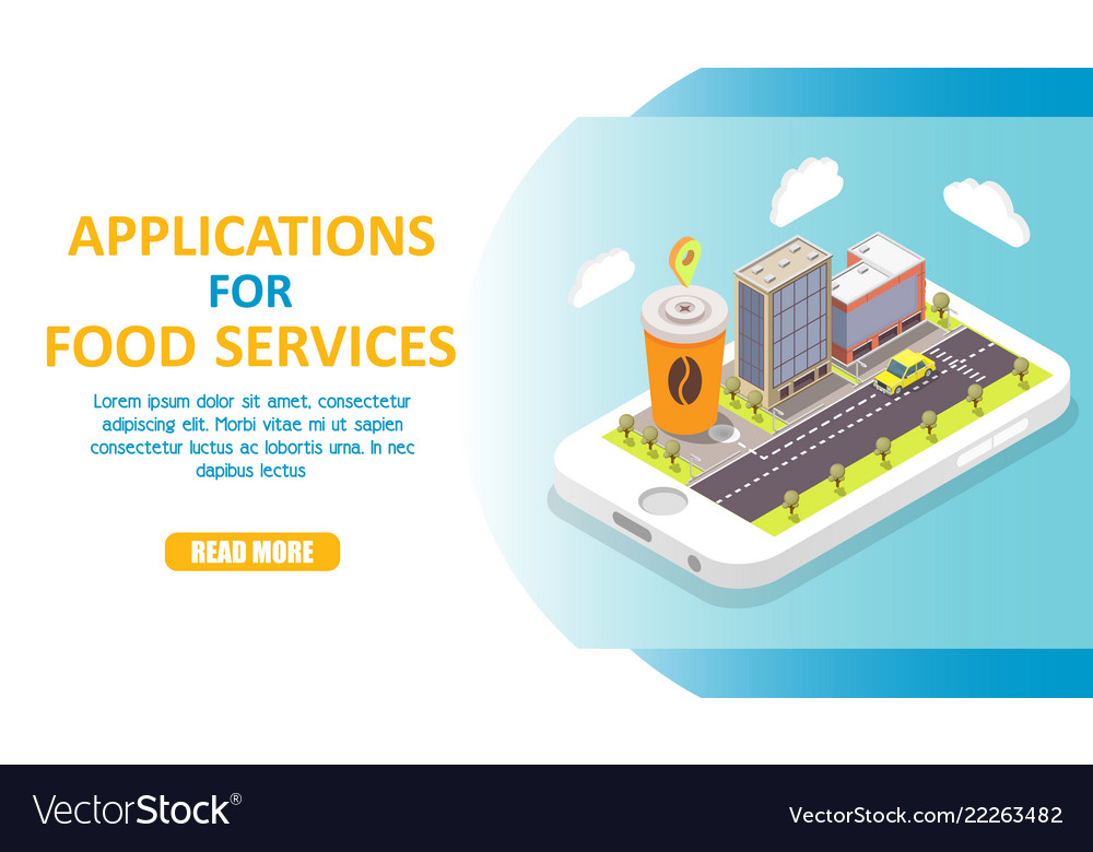 Applications for food services isometric