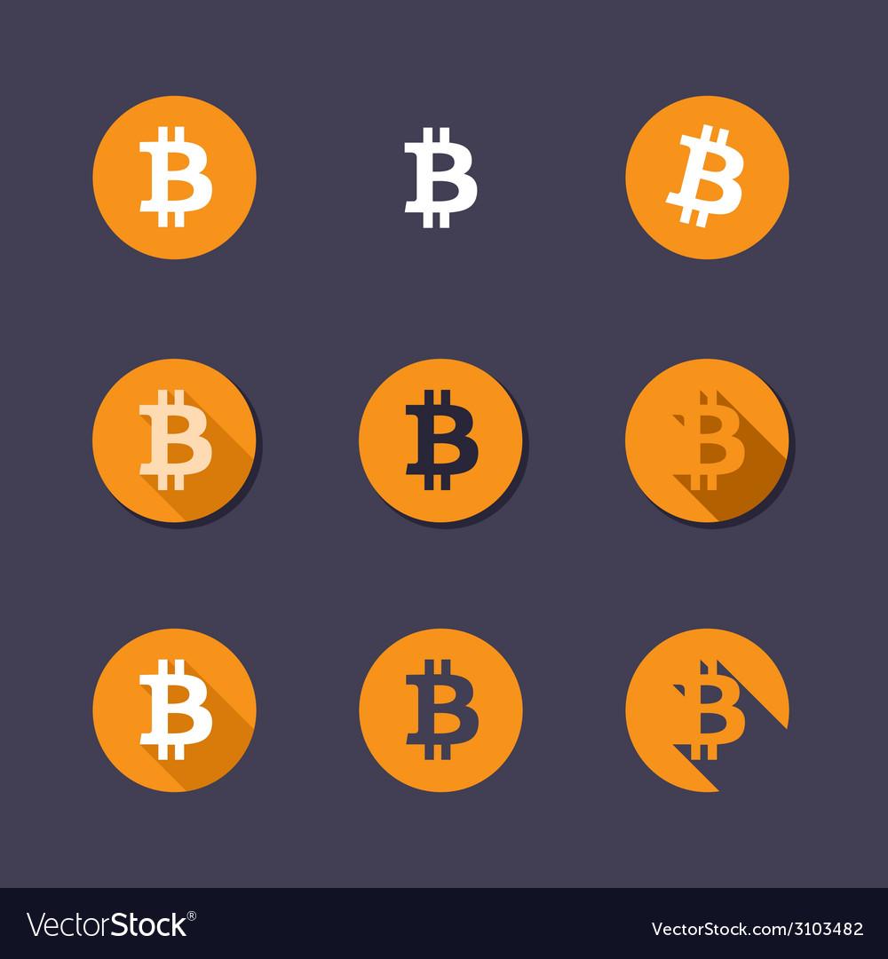 Bitcoin icons vector image