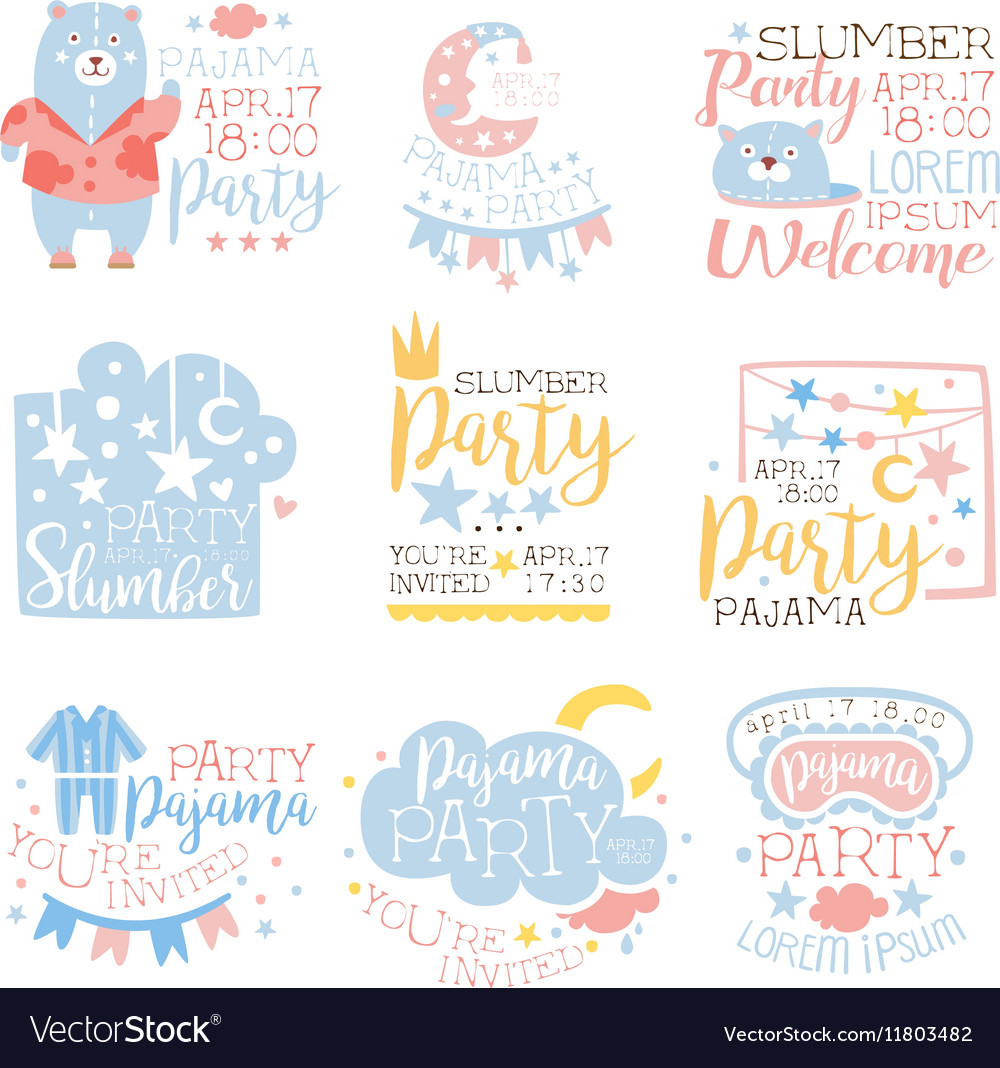 Blue And Pink Girly Pajama Party Invitation Vector Image