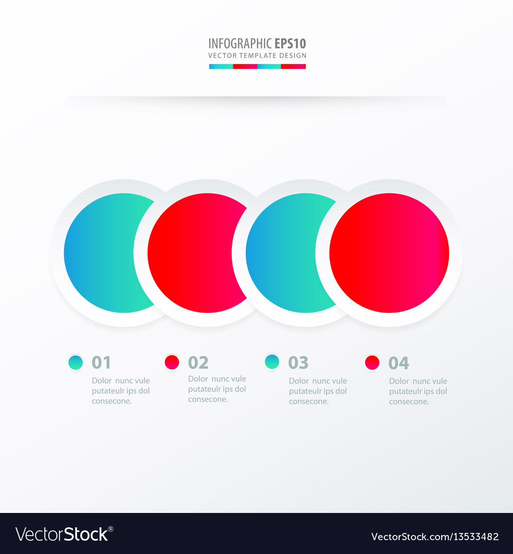 Circle overlap infographic blue and pink color