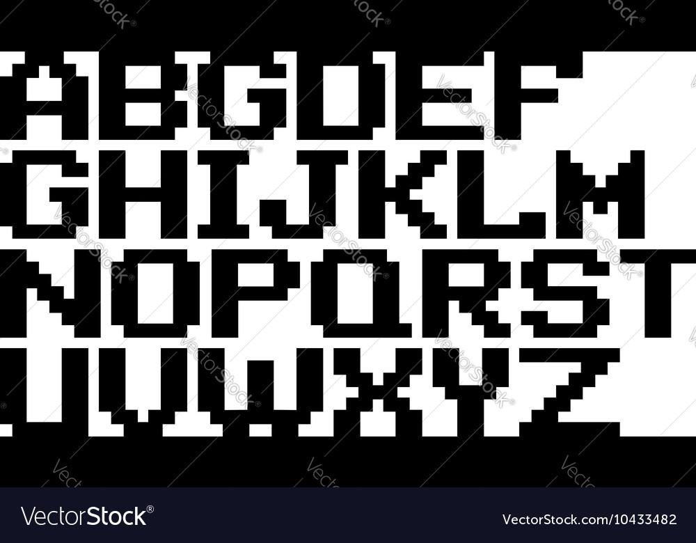 English black pixel alphabet set