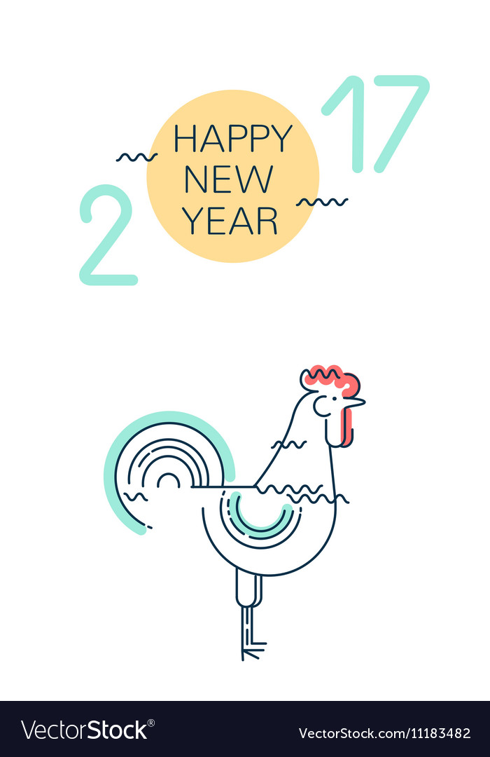 Happy New Year greeting card with rooster vector image