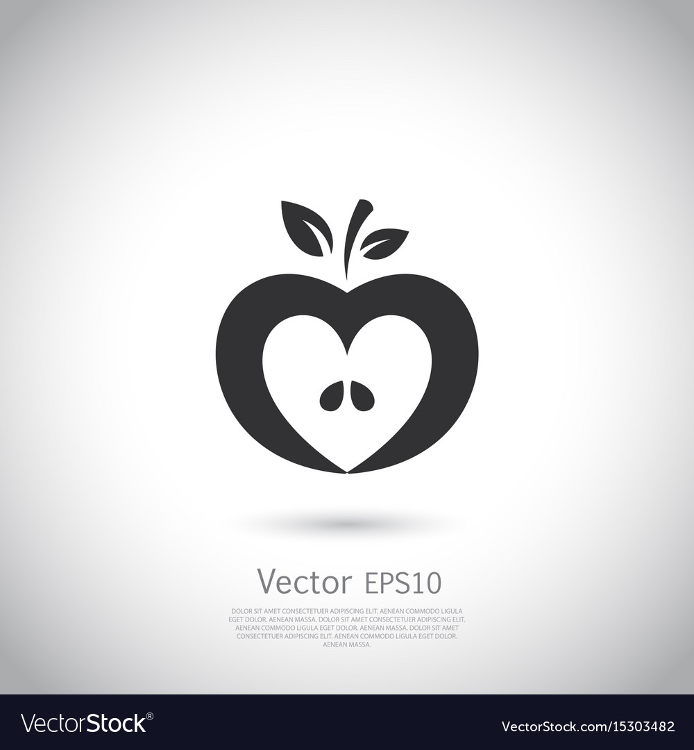 heart shaped apple logo label icon royalty free vector image