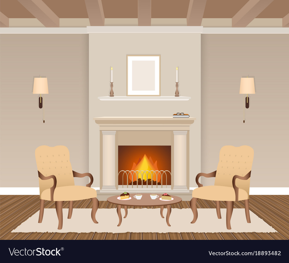 Living room interior with fireplace armchairs