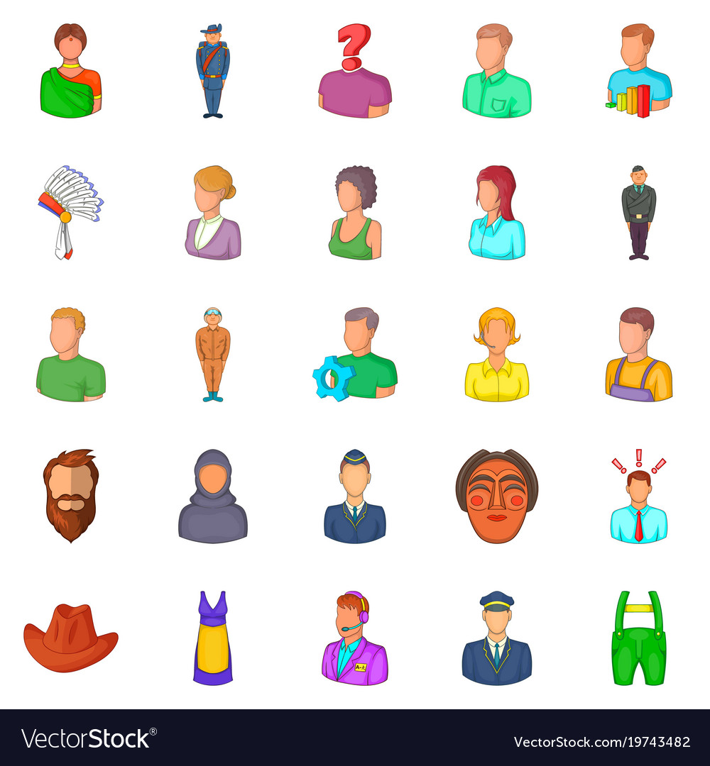 Man icons set cartoon style