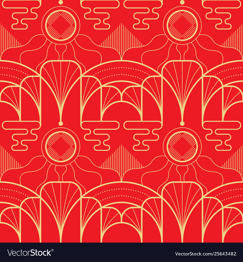 Modern geometric tiles asian pattern on red