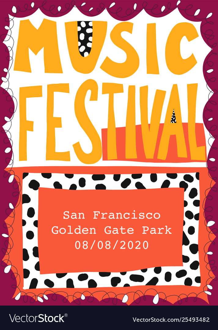 Music festival poster template hand drawn