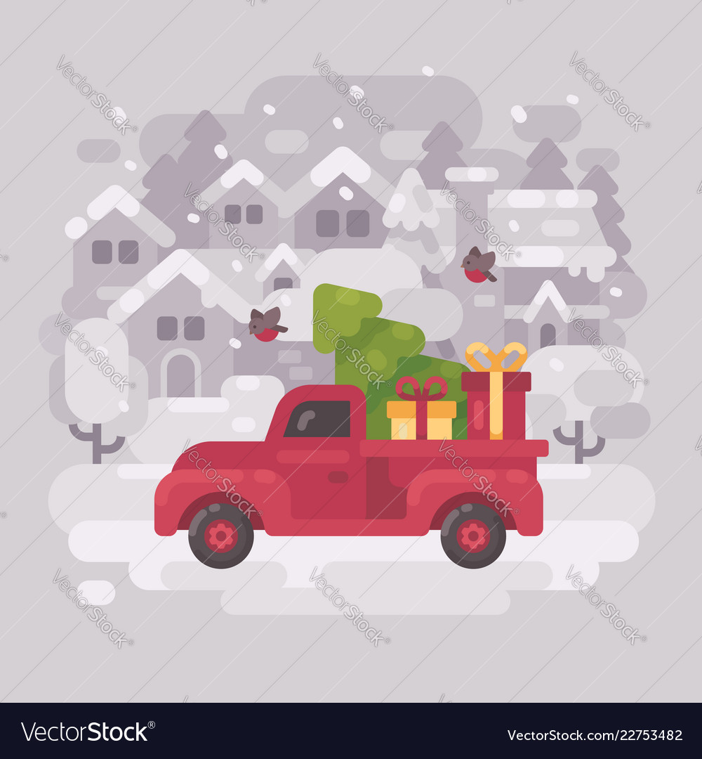 Red farm truck with a christmas tree and presents