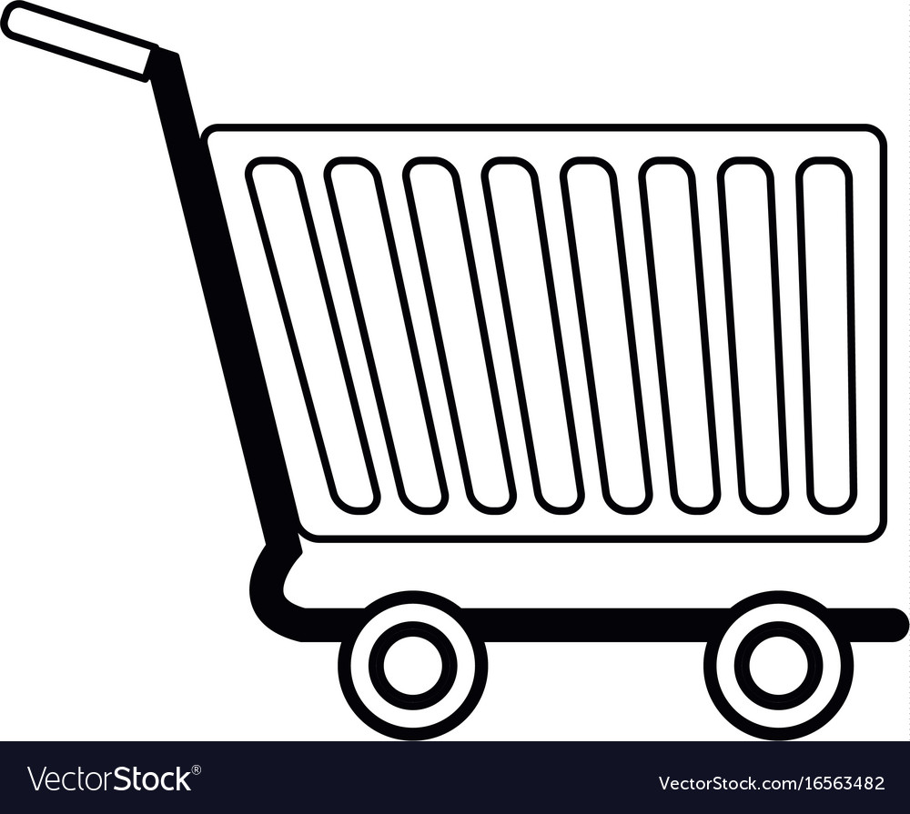 Shopping cart of side view empty supermarket e