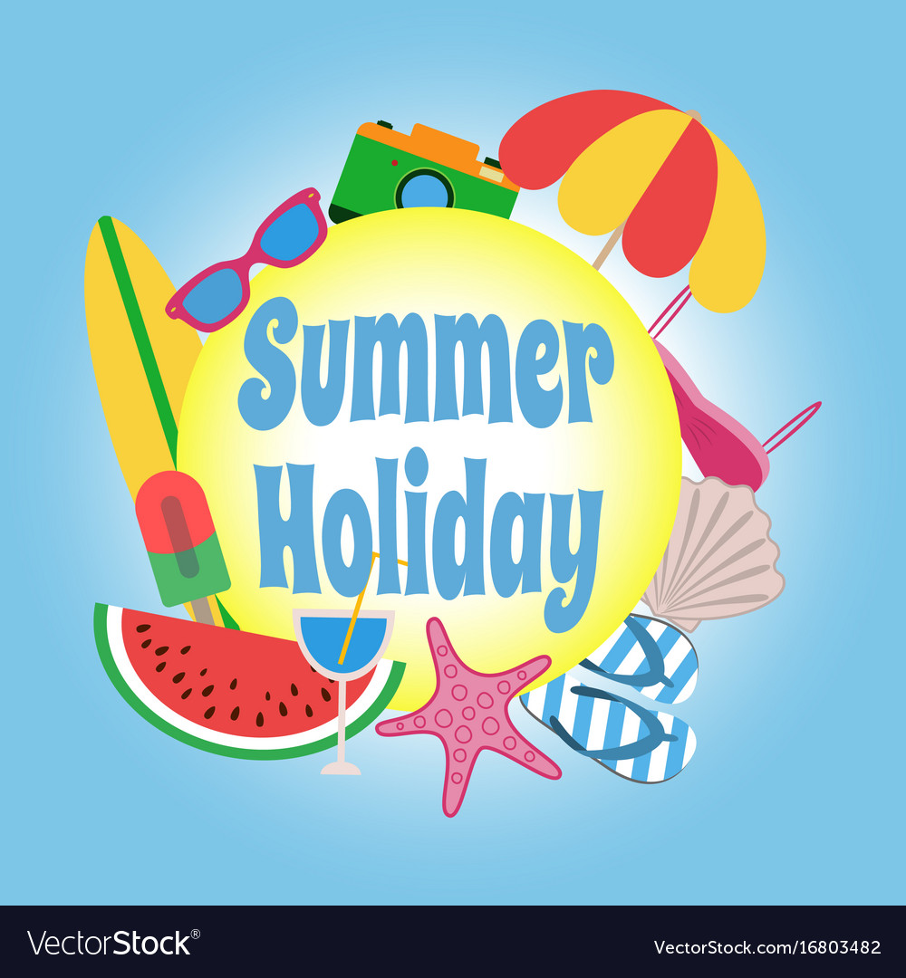 Summer holiday circle banner design with colorful
