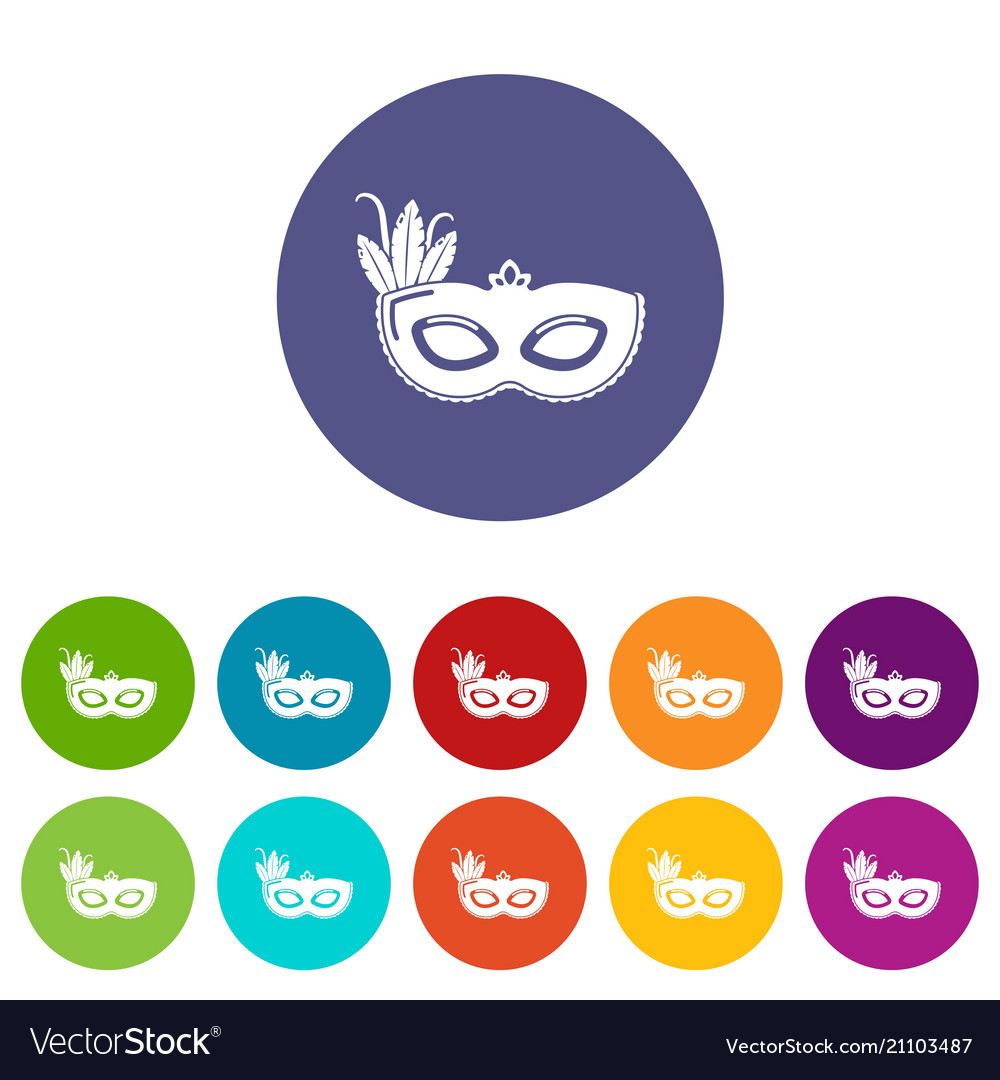 carnival mask icons set color royalty free vector image