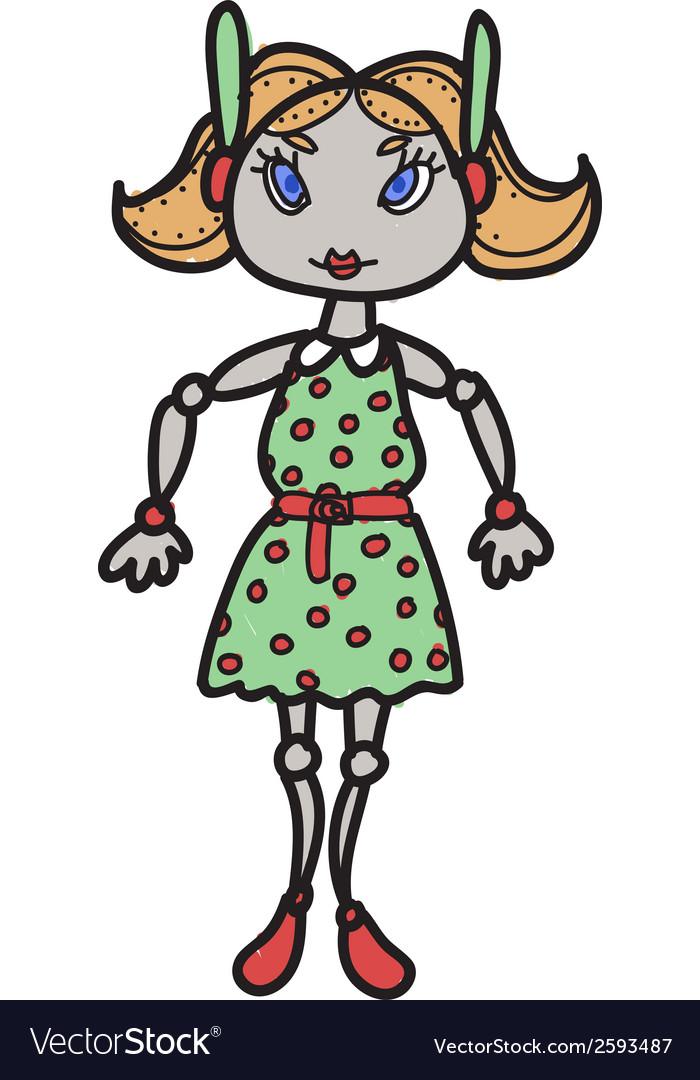 Cartoon female robot vector image