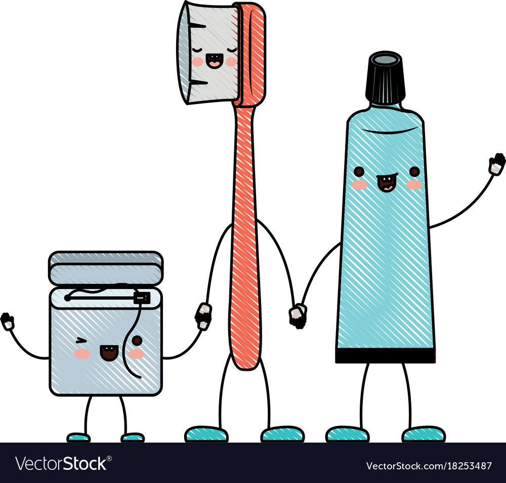 ea774f400 Dental floss and toothbrush and toothpaste in Vector Image