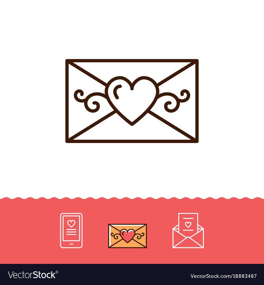 Email icon phone sign envelope line thin symbol