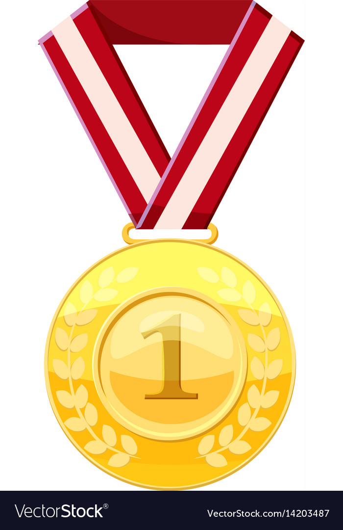 Gold first place medal on a red ribbon icon Vector Image