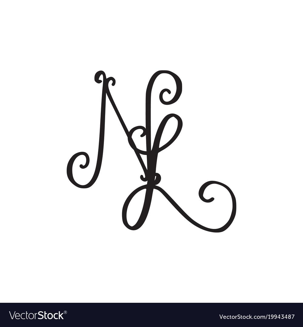 Handwritten Monogram Nl Icon Royalty Free Vector Image