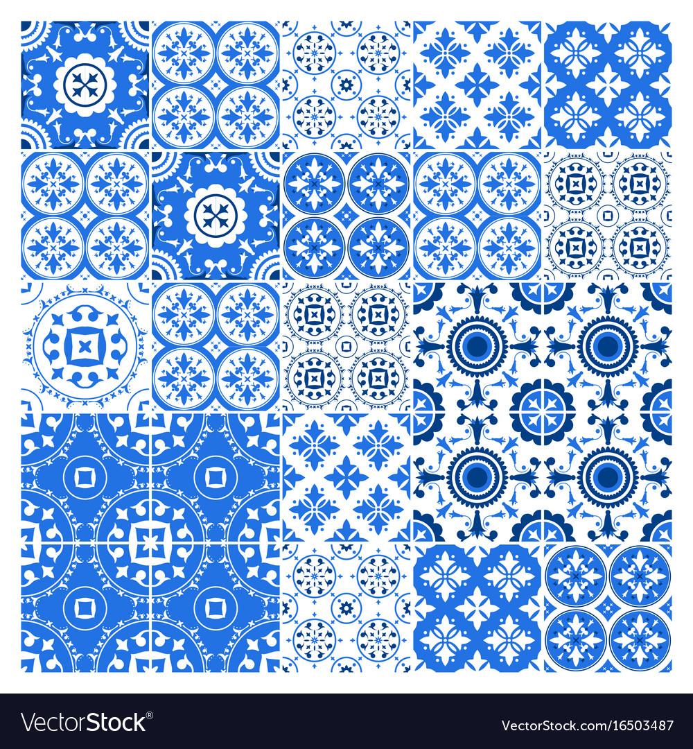Majolica tile collection azulejo design blue Vector Image