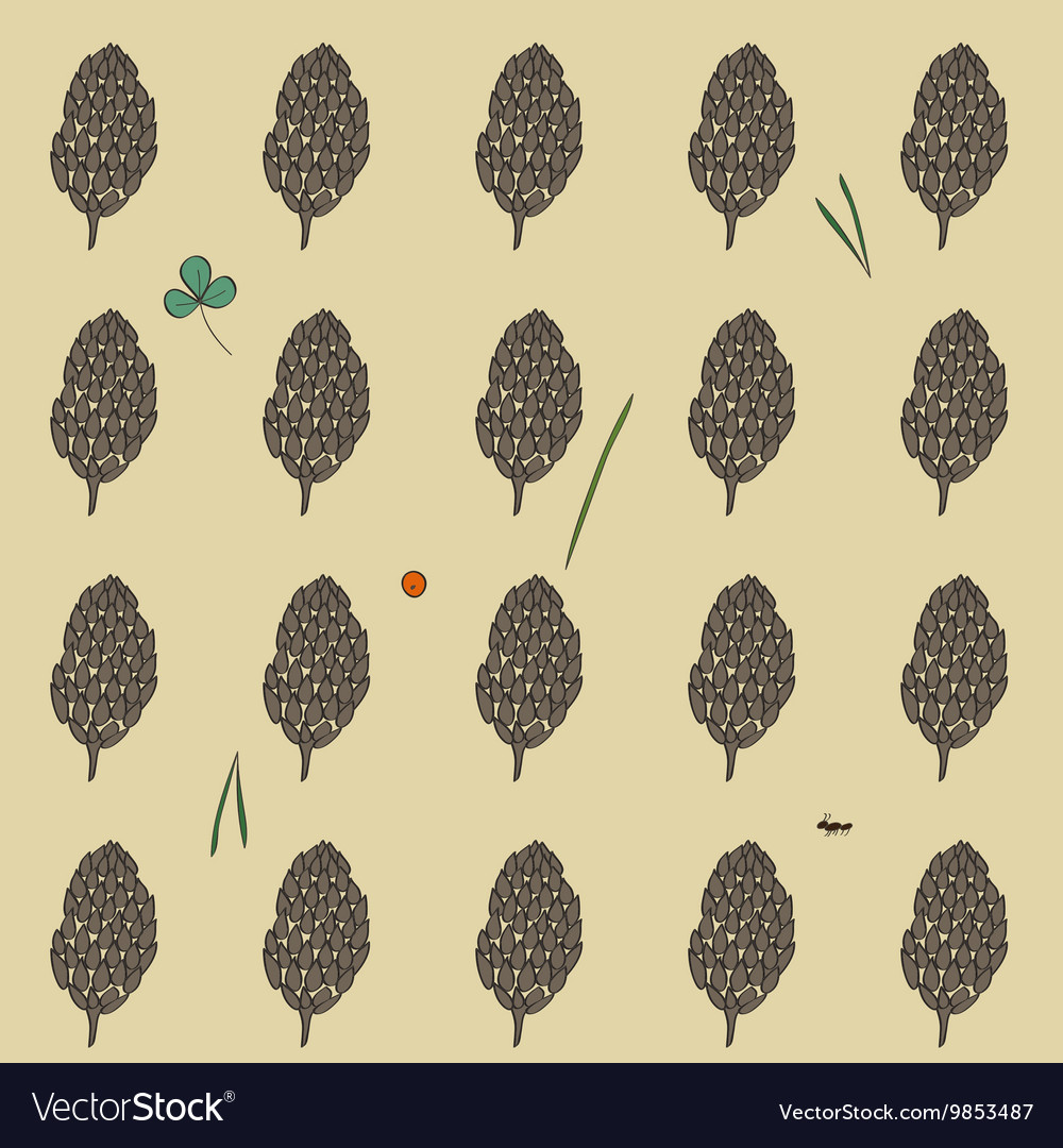 Pattern with the image of the forest cones on a