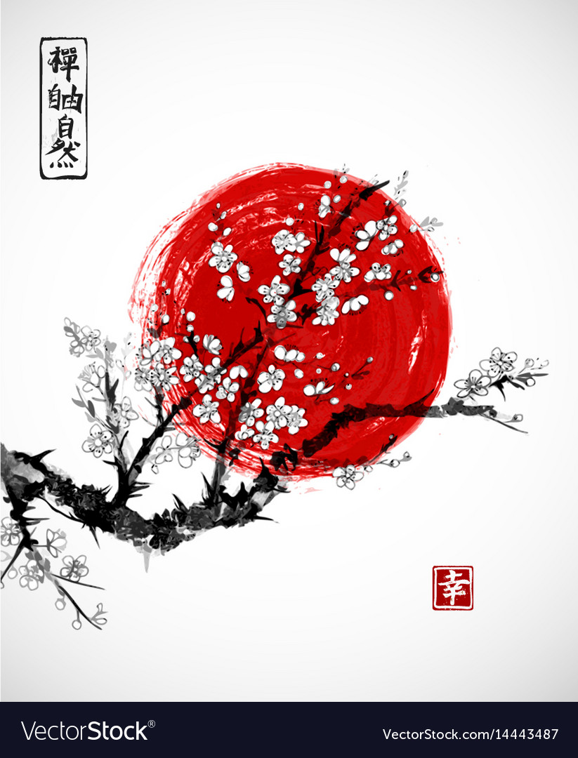 Sakura in blossom and red sun symbol of japan on