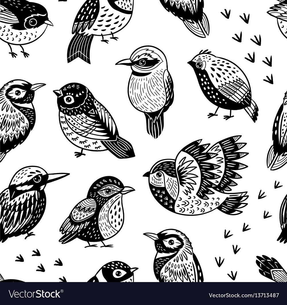 Seamless pattern with ink hand drawn exotic birds