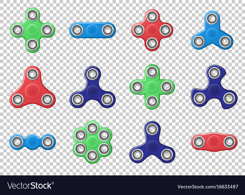 Set of colored hand spinner realistic vector image