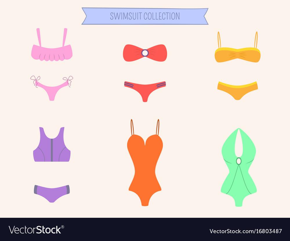 Women colorful swimsuit set bikini and monokini vector image