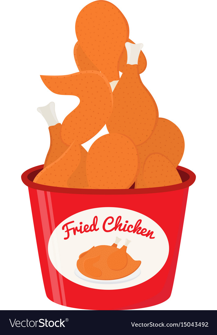 Bucket Of Fried Chicken Tasty Fast Food Royalty Free Vector