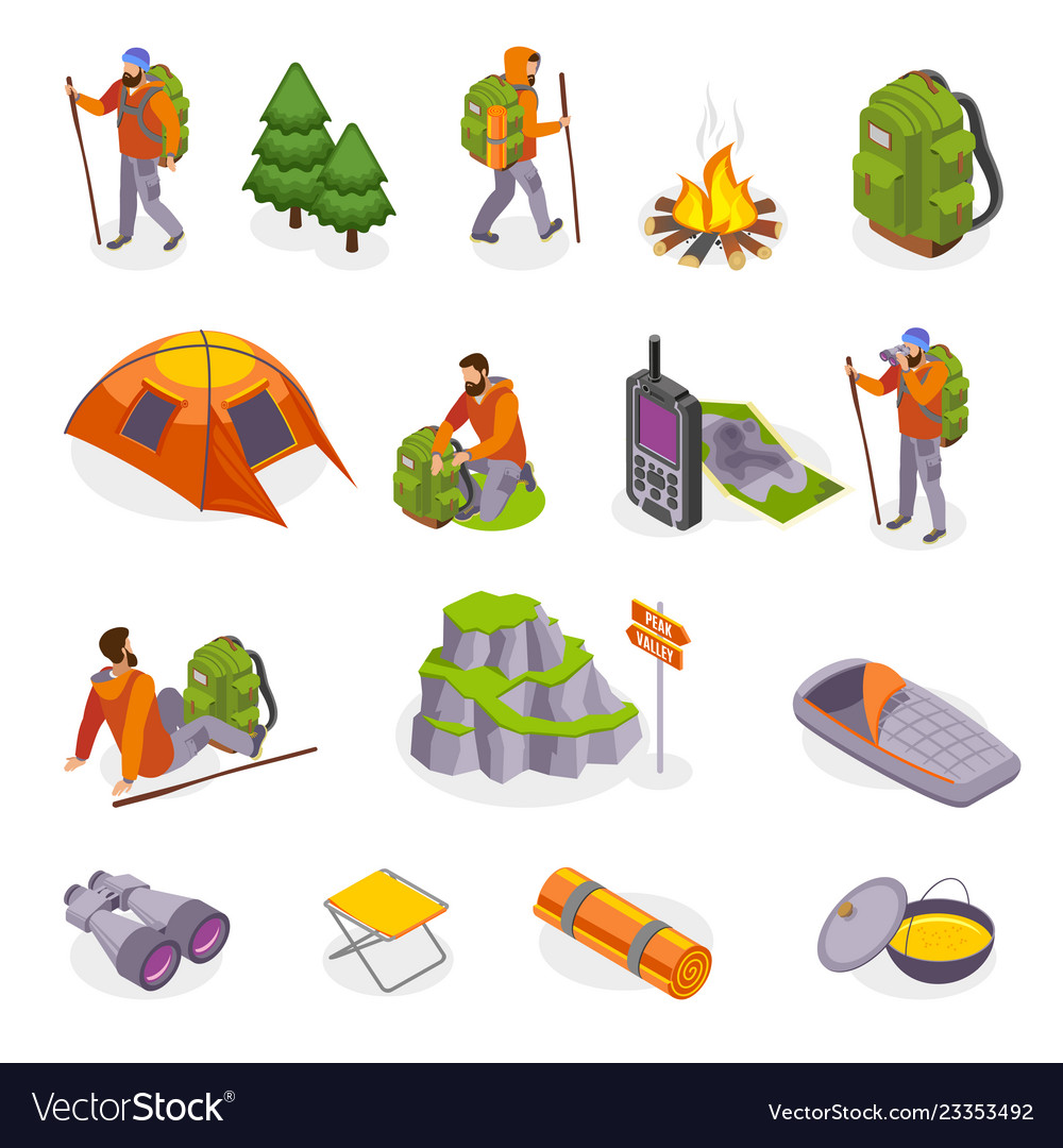 Campers gear icon set