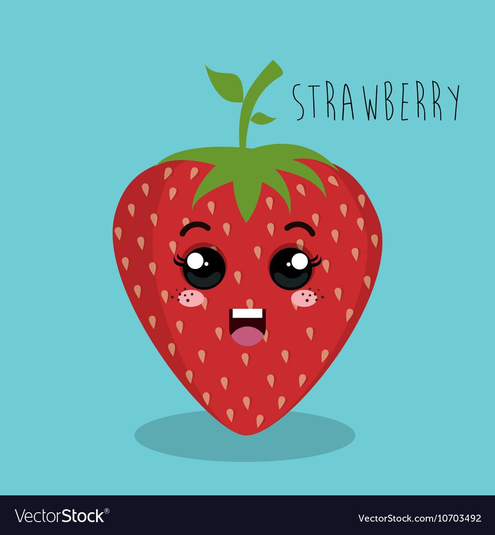 Cartoon strawberry fruit facial expression design