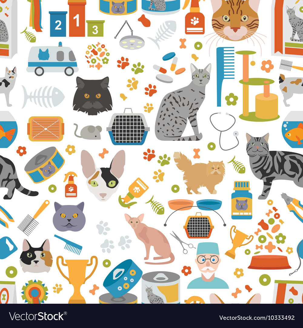Cat characters and vet care seamless pattern flat