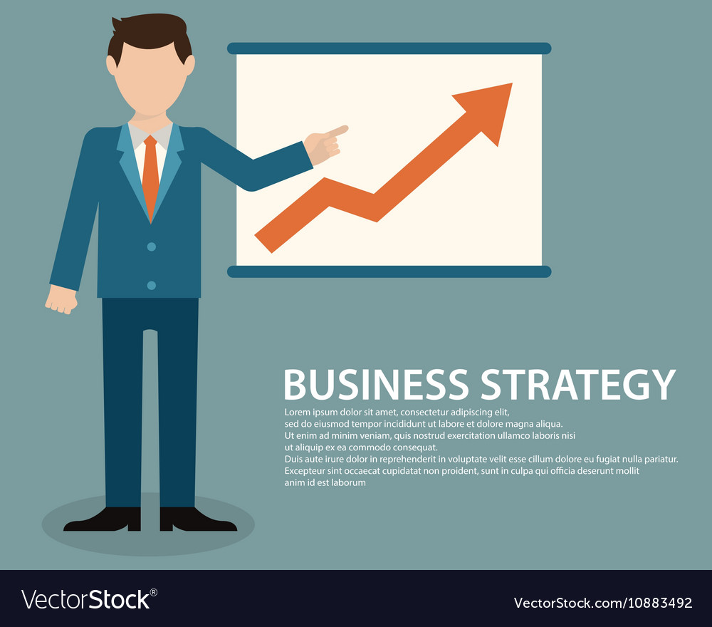 Flat design concept of businessman presenting